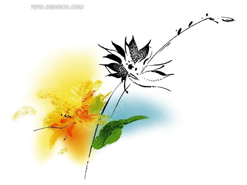 手绘黄色花朵水彩画插画设计文件