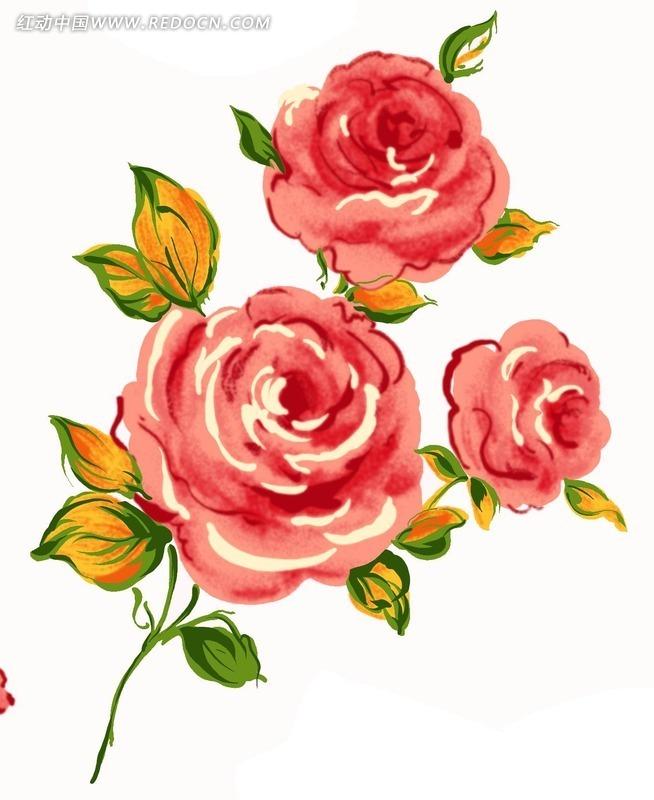 手绘红玫瑰psd分层素材