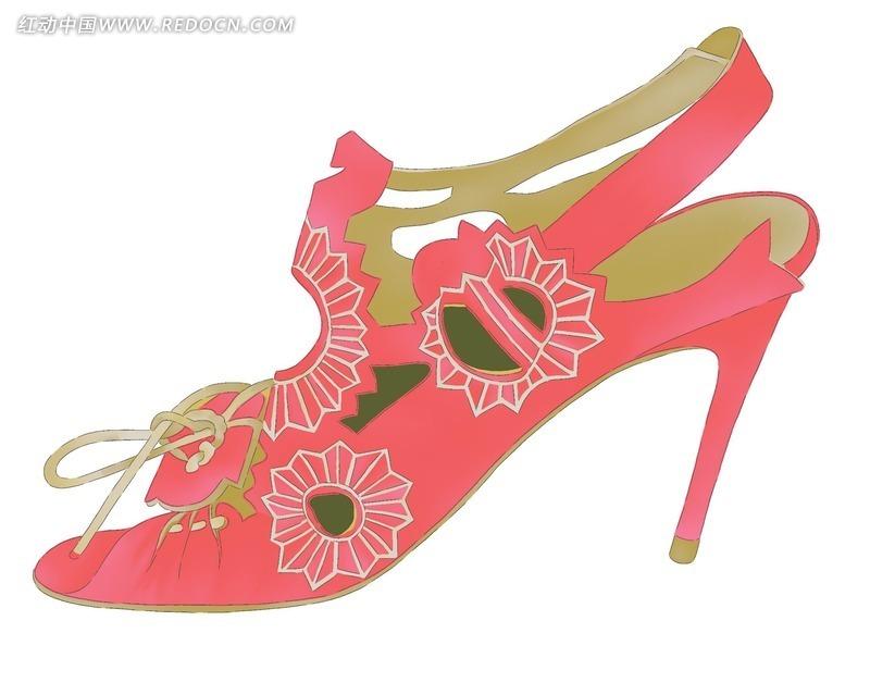 手绘女性红色高跟鞋