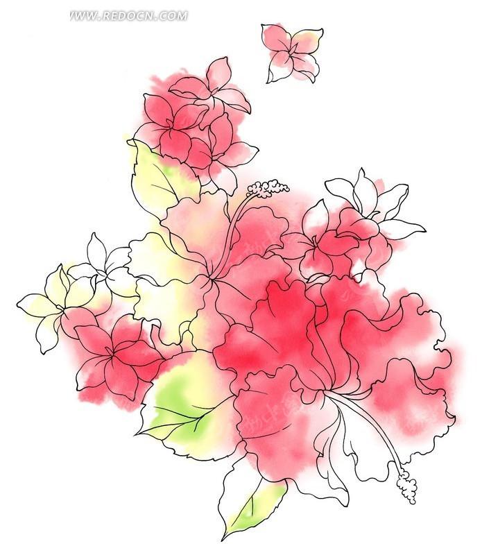 单朵艳丽配色花纹; 韩国手绘花纹; 花朵插画