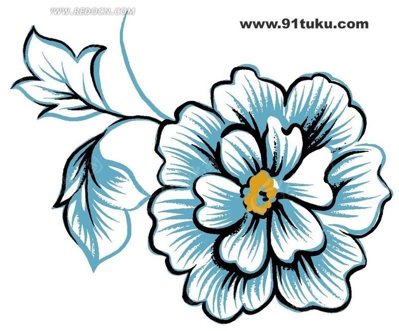 手绘花朵线稿插画设计文件展示