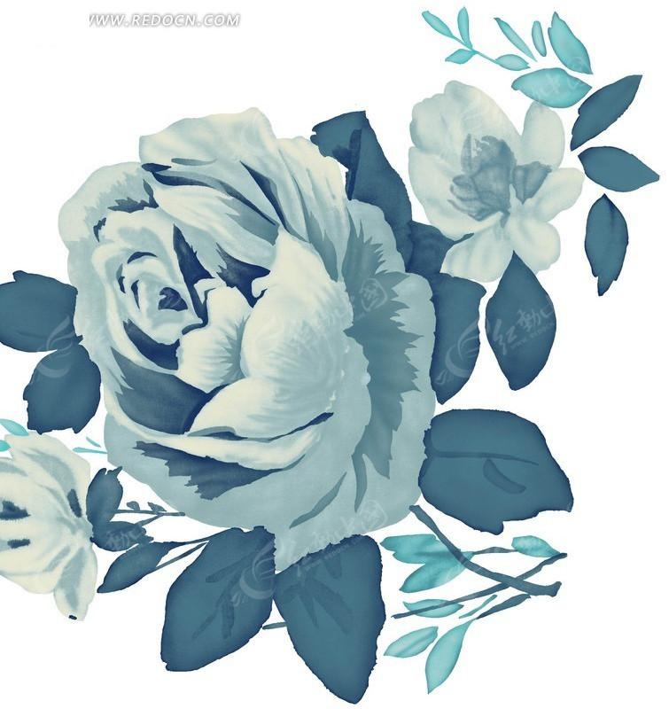 手绘青色花朵花瓣插画形象展示设计