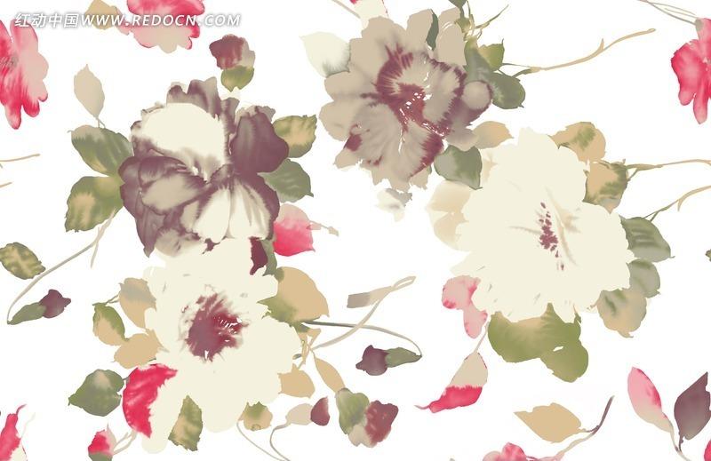 植物素材 手绘花朵花瓣 水彩画 分层文件 白色背景 花卉 花纹 花纹