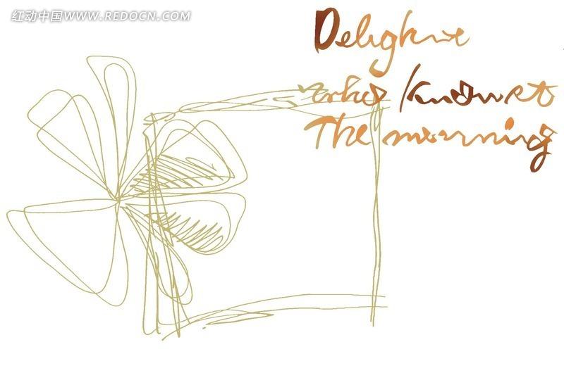 手绘花朵线稿和英文字母插画文件