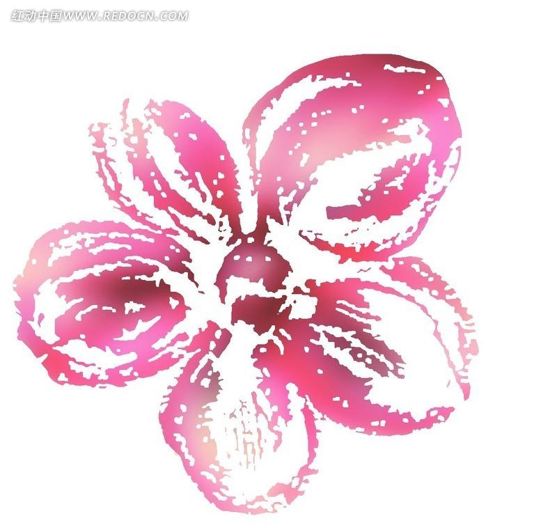 创意粉色水彩画花瓣插画