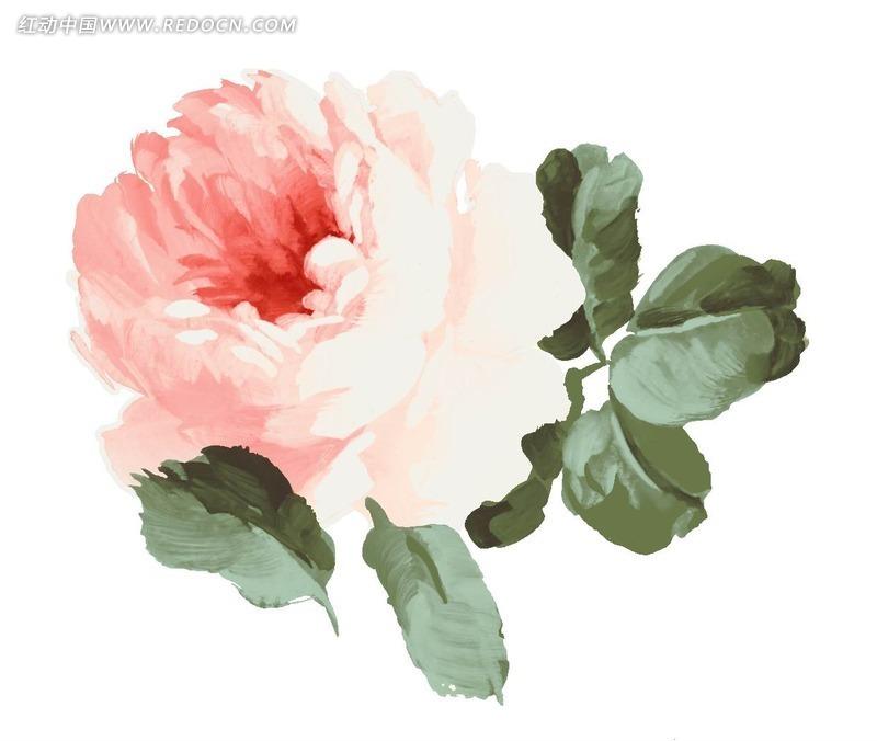 手绘水粉英文字母r和花朵