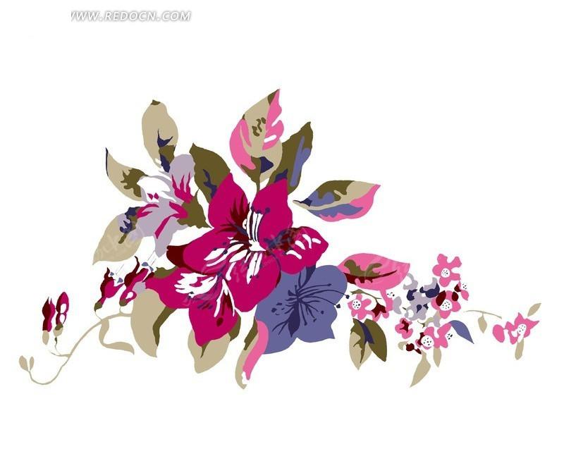 手绘水彩画花朵叶子卡通插画
