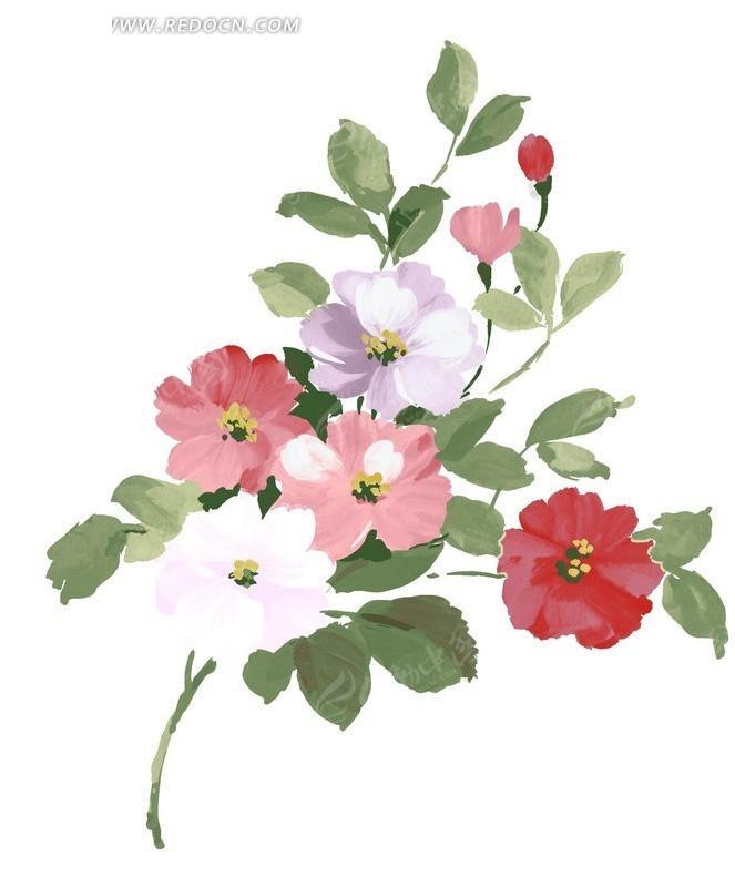 手绘彩色花瓣水彩画设计稿件