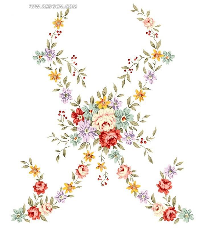 手绘花朵插画曲线设计稿件