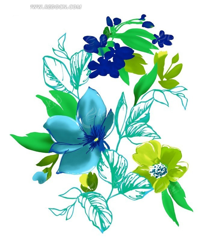 手绘创意花朵花卉线稿插画_花纹花边_红动手机版