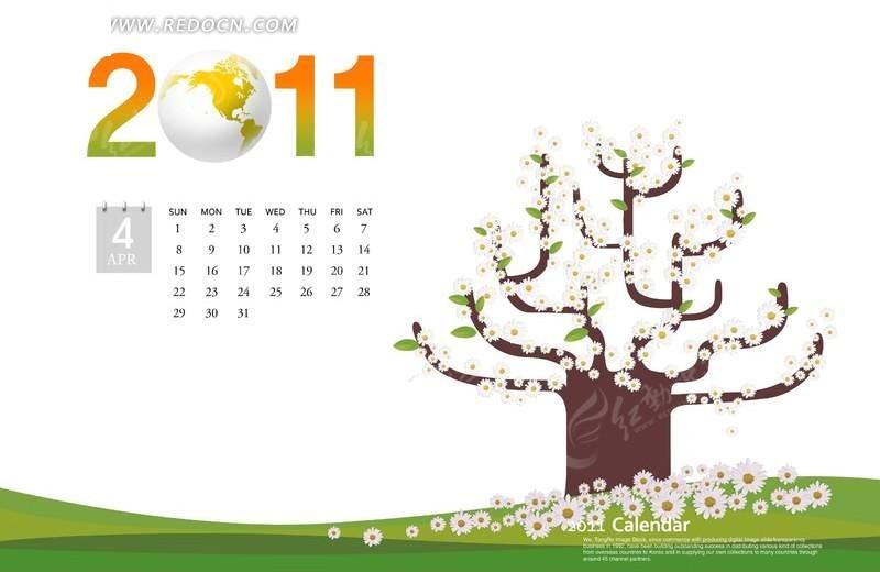 以简笔画野菊花之树为背景的2011年4月日历psd素材