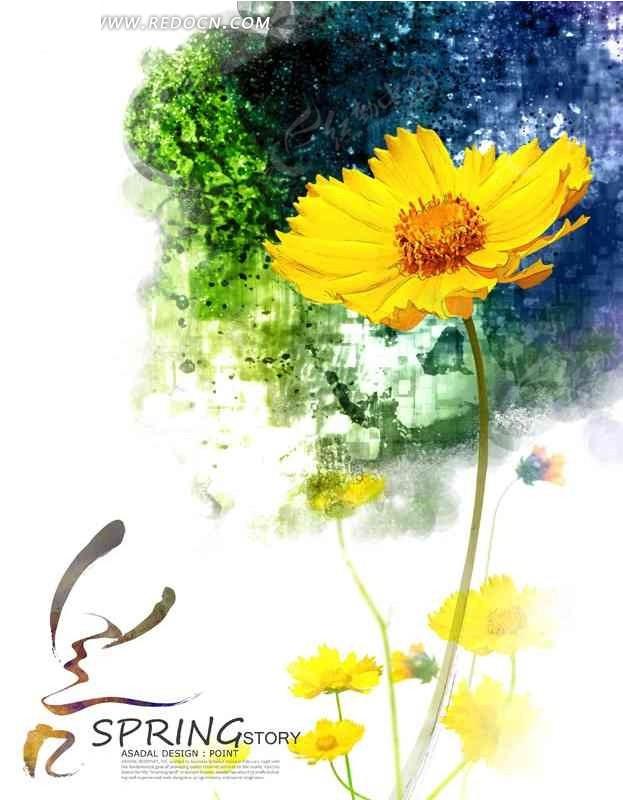 手绘彩色水粉画花朵花卉韩国素材