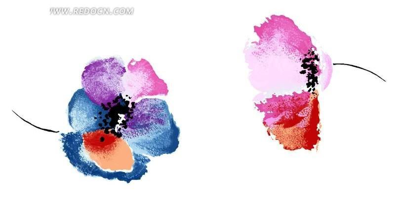 手绘彩色花瓣插画素材