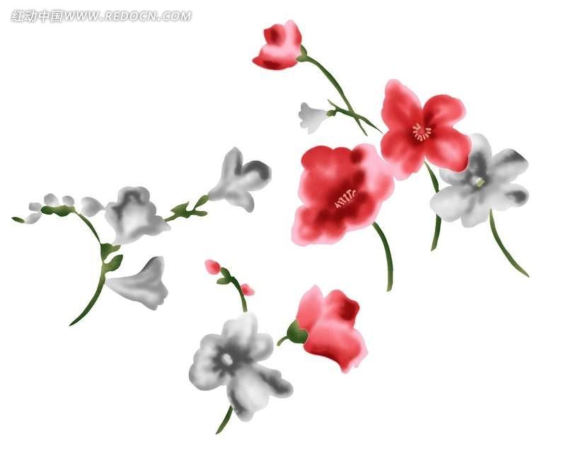 手绘水彩花朵分层文件插画psd免费下载_花纹花边素材