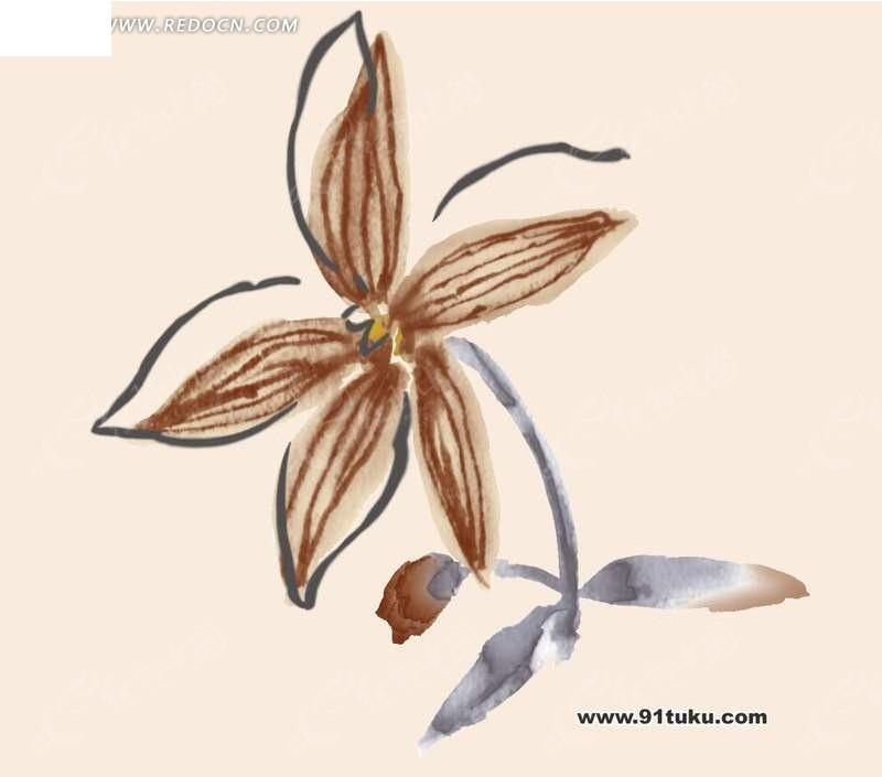 手绘花朵水彩插画设计稿件