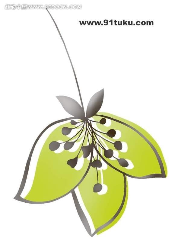 手绘绿色花瓣植物插画稿件