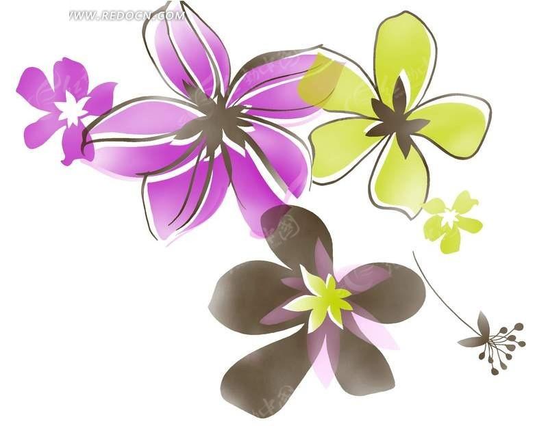 手绘彩色花卉花瓣植物插画文件