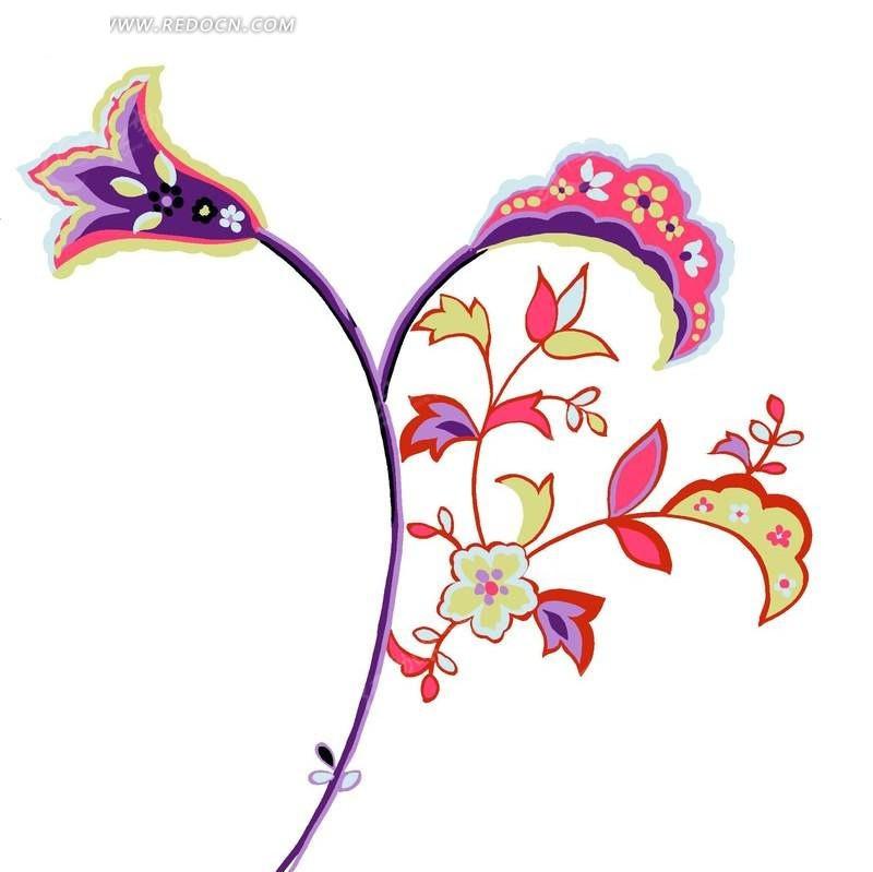 手绘卡通花朵植物插画设计文件