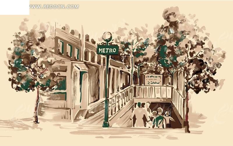 手绘城市街景插画文件图片