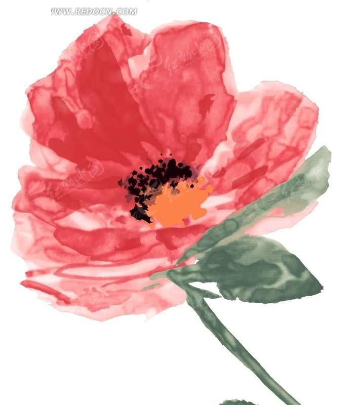 植物素材 红色花瓣 分层文件 手绘水彩画 插画 叶子 花纹 花纹素材 花
