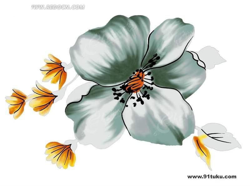 手绘彩色花朵花卉植物分层文件