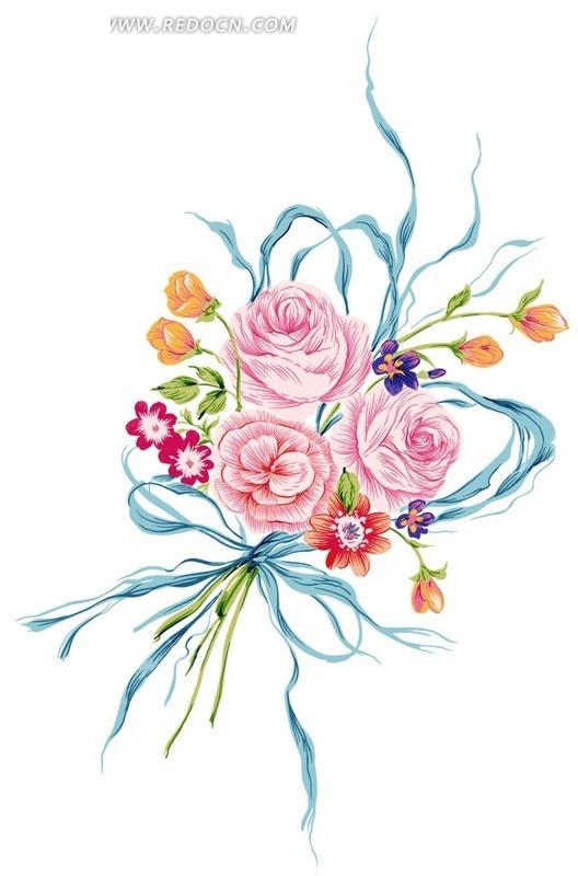 漂亮的手绘花朵花束psd素材