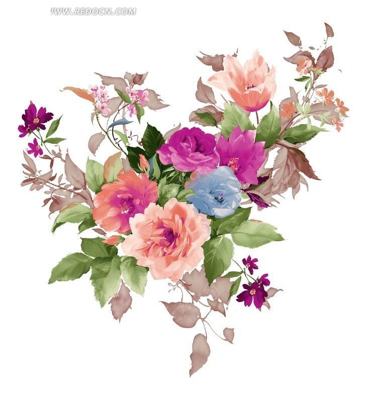 手绘玫瑰花花束