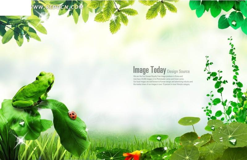 绿叶花纹边框背景素材