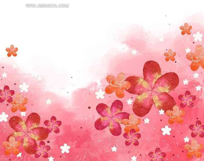 手绘粉色花卉背景