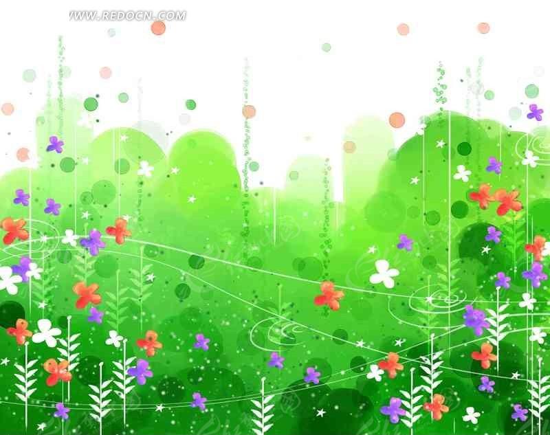 绿色花丛水彩手绘
