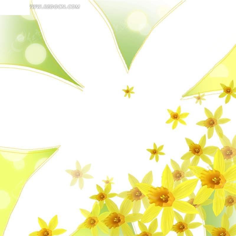 手绘水仙花装点的花形边框PSD免费下载 花纹花边素材