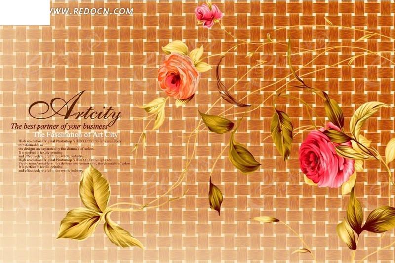 网格图案背景上的手绘重瓣花与叶子PSD素材免费下载 编号1215795 红动网