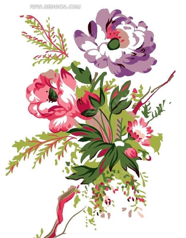 手绘水彩画花朵叶子插画设计稿件展示