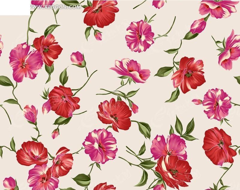 满版构图手绘红色花朵与绿叶