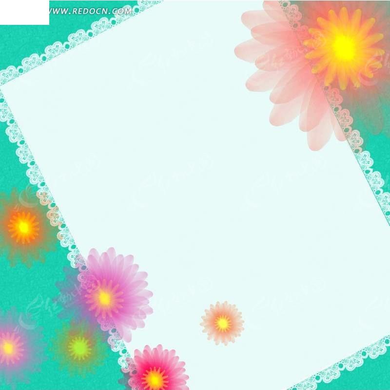 五彩花儿相册边框背景素材PSD免费下载 红动网图片