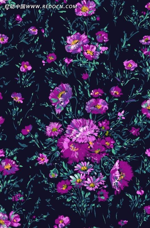 深色背景上的手绘紫色调花朵