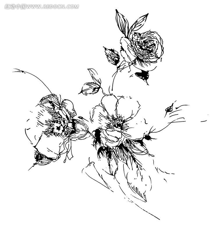手绘抽象线性花朵psd素材