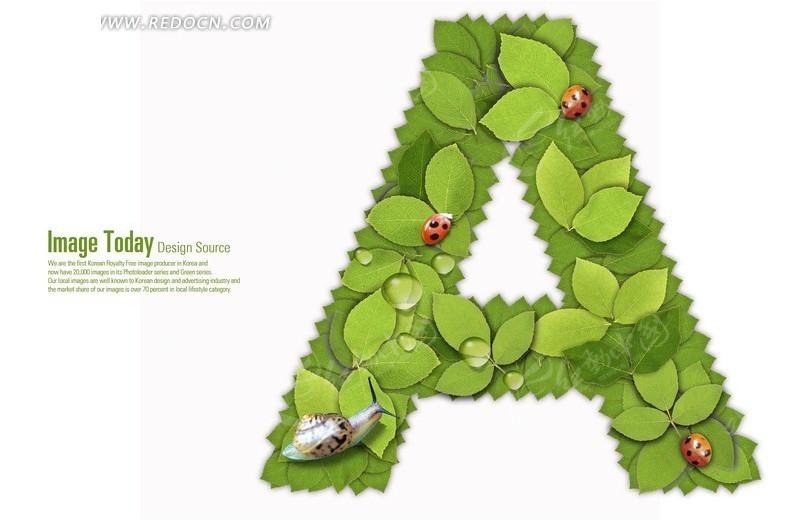 绿色树叶组成字母a图片