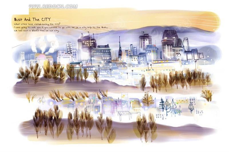 彩色手绘夜晚风中的城市psd素材