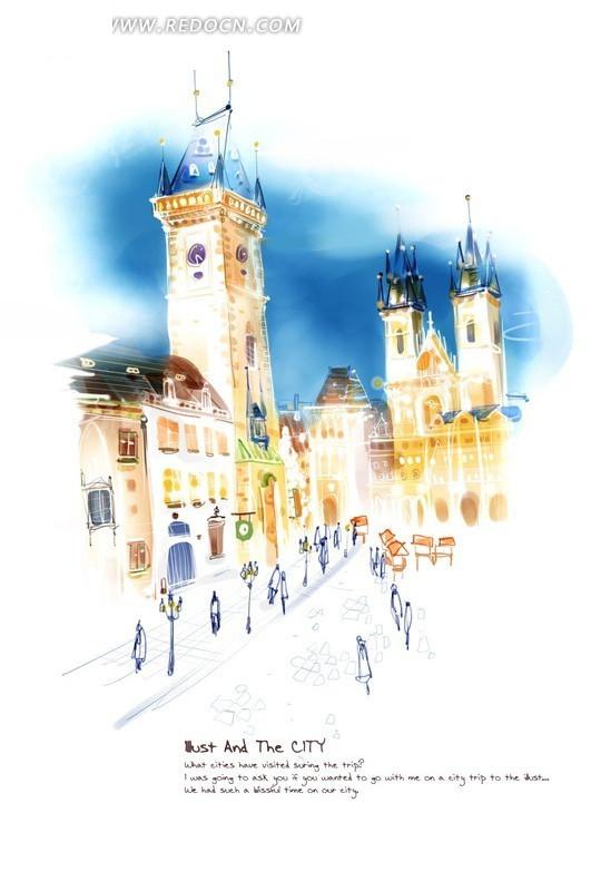 欧洲小城镇 梦幻手绘 欧式建筑 街道 手绘色彩 欧洲风景图片 psd素材