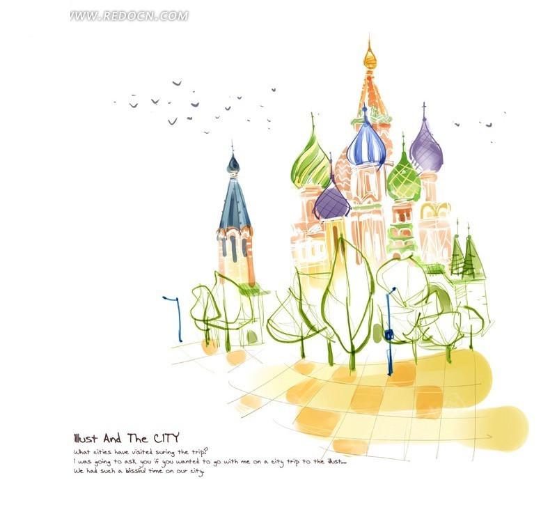 梦幻的手绘城堡psd分层素材