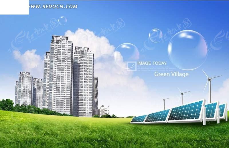 太阳能电池板和城市psd素材