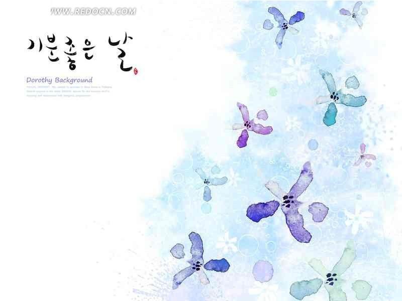 创意青色水彩画花瓣插画设计文件