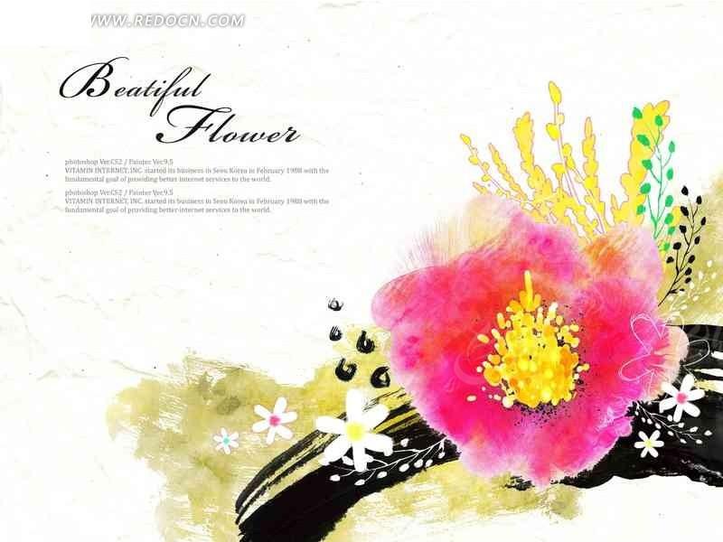 白色背景 水彩画 花朵 花卉 手绘插画稿件 英文字母 分层文件 植物