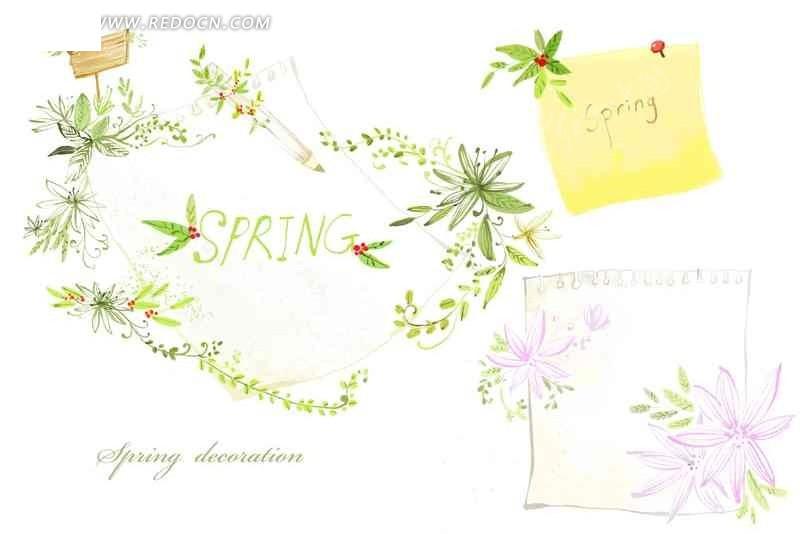 手绘紫色花瓣植物插画稿 手绘花朵曲线插画稿件 彩色花朵绿色叶子手绘