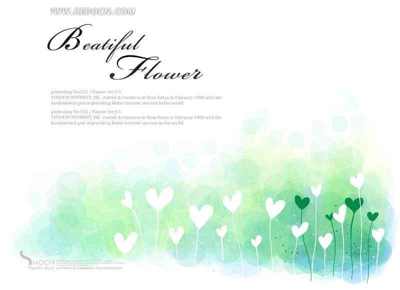 心形花丛卡通手绘
