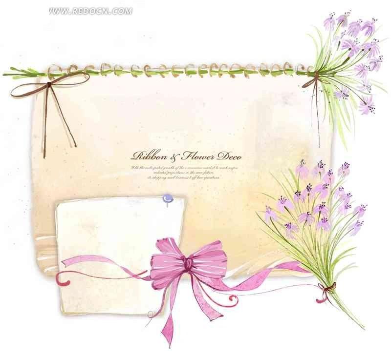 卡通花朵彩带插画设计素材