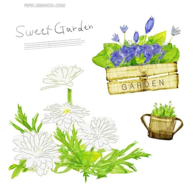 素材下载 psd素材 psd花纹边框 底纹背景 > 绿色花朵盆栽插画