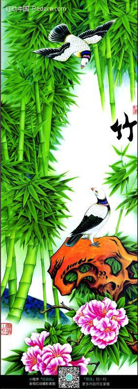 荷花仙鹤松树牡丹