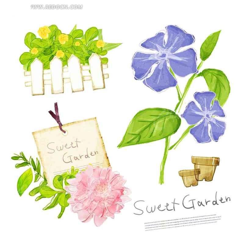 手绘彩色抽象花卉栅栏和花盆图案合集